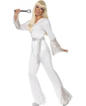 Deguisement Disco Lady Blanc Argent