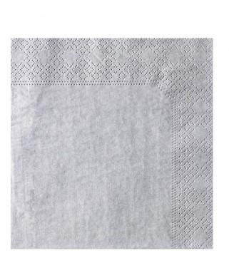 Serviettes Micro point Gris  20x20 cm   x100