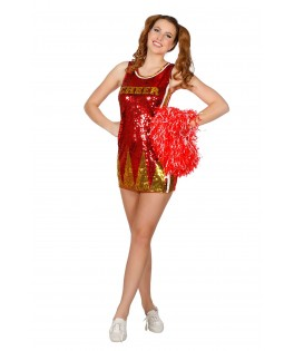 Deguisement Pom Pom Girl Paillette rouge