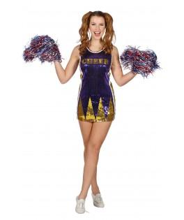 Deguisement Pom Pom Girl Paillettes violet