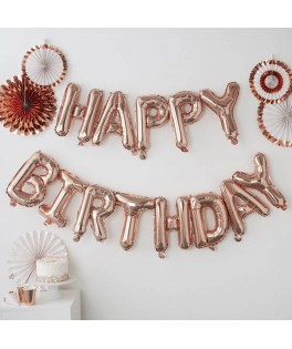 Guirlande de ballons HAPPY BIRTHDAY rose gold