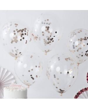 Ballons transparents confettis rose gold