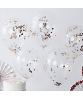 Ballons transparents confettis rose gold