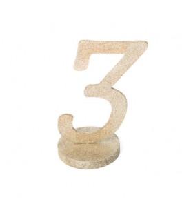 Marque-table Chiffre 3 Paillettes Champagne sur socle