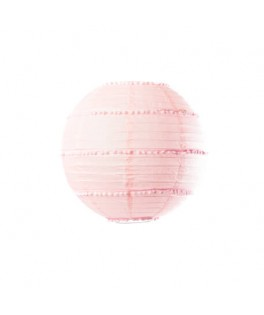 Lanterne papier rose pompons
