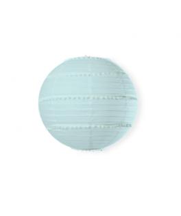 Lanterne bleu à pompons - 35 cm
