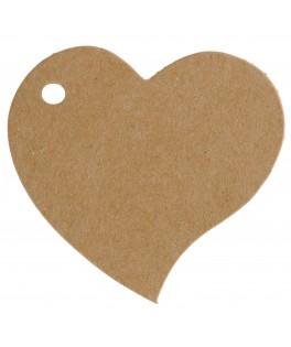 10 Etiquettes marque-places carton coeur kraft