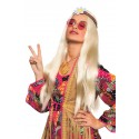Perruque longue hippie blonde avec marguerite